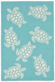 Sea Turtle Aqua Area Rug