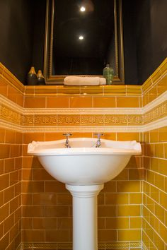Period Embossed tiles by H&E Smith Ltd. A Selection of mouldings and plain tiles in Inca Gold and Snowdrop.