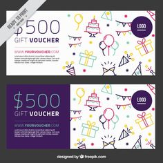Sketches birthday elements gift coupons Premium Vector