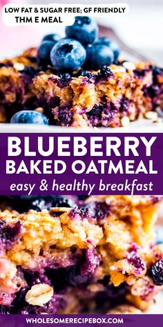 Whip up this healthy Blueberry Oatmeal Bake for a breakfast the whole family will enjoy. You can even make it ahead the night before - so easy! Low Fat Breakfast, Healthy Breakfast Recipes, Healthy Snacks, Blueberry Breakfast Recipes, Healthy Low Fat Meals, Healthy Low Calorie Breakfast, Healthy Blueberry Recipes, Low Fat Snacks, Healthy Breakfasts