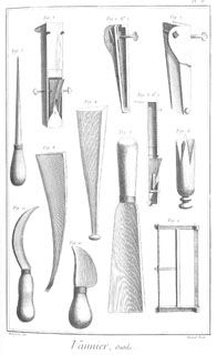 Six basket makers tools incl. boxwood cleaver, beating