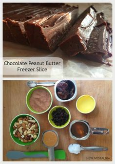 No Bake Chocolate Peanut Butter Freezer Slice | New Nostalgia  Amazingly delicious.  Can't eat just one!