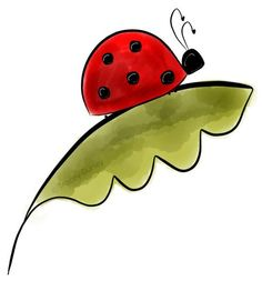 Ladybug on Leaf - original artwork by Tracey Gurley. **Since each file is available in PNG format (transparent background), you can mix Art Drawings For Kids, Drawing For Kids, Easy Drawings, Art For Kids, Tole Painting, Fabric Painting, Rock Painting Designs, Diy Canvas Art, Watercolor Cards