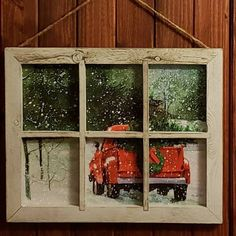 Red Christmas Tree Truck Window Sign Small | Etsy Christmas Window Decorations, Wooden Christmas Trees, Rustic Christmas, Christmas Windows, Handmade Christmas, Window Pane Art, Window Signs, Old Window Art, Old Window Decor