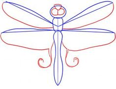how to draw a dragonfly step 3  (1-6 steps)