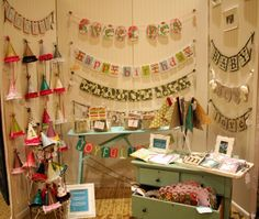 booth show backdrop craft | Beadboard panels are the backdrop for this booth, love the fun painted ...