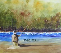 Fly Fishing Painting (11 x 13) Fly Fisherman watercolor)   by Richard Wm. Beck