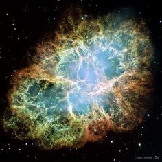 Explanation: This is the mess that is left when a star explodes. The Crab Nebula, the result of a supernova seen in mysterious filaments. The filaments are not only tremendously complex, but appear to have less mass than expelled in the original supernova and a higher speed than expected from a free explosion. The featured image, taken by the Hubble Space Telescope, is presented in three colors chosen for scientific interest.