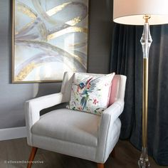 I love the pop of color and shine in this vignette (designed by Chauvet Interiors) Vignette Design, Vignettes, Color Pop, Accent Chairs, Photoshoot, Interiors, Landscape, Creative, Photography