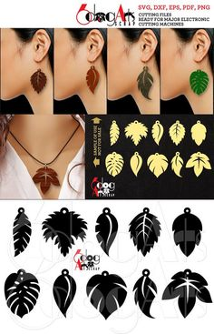 Leaf Earring / Pendant Cutting Templates - vector digital files to use for your crafting projects, etc. WHAT YOU WILL RECEIVE You can receive these designs in 5 file formats: SVG (vector file - unlimited resizing with no quality loss) DXF (vector fil Diy Leather Earrings, Leather Jewelry, Gold Jewellery, Fashion Jewellery, Fashion Earrings, Leaf Earrings, Diy Earrings, Wire Jewelry Earrings, Wood Earrings