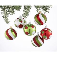 Cute Cute Cute...Set Of 6 Candy Swirl Ball Ornaments ($21) found on Polyvore