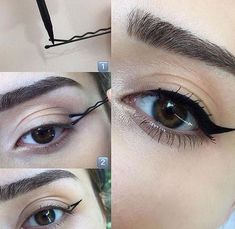 Ideas Eye Makeup Eyeliner Make Up Cat Eye Tutorial, Cat Eye Makeup Tutorial, Make Up Tutorial Contouring, Makeup Tutorial For Beginners, Eyeliner Tutorial, Makeup Tutorials, Cool Makeup, Bold Makeup Looks, Blue Eye Makeup