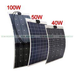Semi-Flexible Bendable Solar Panel 40W 50W 100W Mono/Poly Waterproof RV Car Boat | eBay