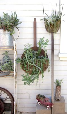 Take your rusty garden tools and upcycle them as amazing succulent planters for your outdoor garden.