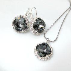 Dark Grey Jewelry Swarovski Crystal Silver by BeYourselfJewelry, $79.98