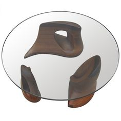 Check out the deal on Sculptural Glass and Walnut Coffee Table by Walter Horak at Eco First Art