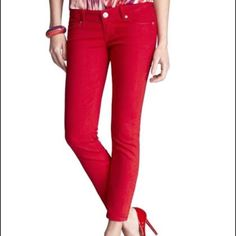 Express red jeans Ankle length, good condition, wore once Express Jeans Skinny