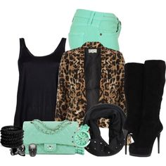 """A Hint Of Mint & Leopard Print"" by modelmaterialgirl22 on Polyvore"