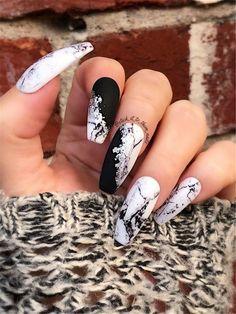 Modern silver marble foil press on nails false nails fake Nails. - Modern silver marble foil press on nails false nails artificial nails Marble Nail Designs, Marble Nail Art, Nail Art Designs, Nails Design, Black Marble Nails, Black White Nails, Cute Black Nails, Unique Nail Designs, Acrylic Nail Designs Coffin