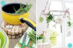 15 Simple and Clever DIY Kitchen Projects - I like the hanging fruit basket and the tin tile backsplash