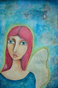 "Angel - 14x10"" mixed media on watercolour paper - www.iris-impressions.com"