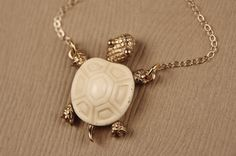 Vintage White Ivory Turtle Necklace, 14kt Gold Filled Chain, Small Pendant, Elite Collectible on Etsy, $49.00