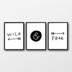 Wild And Free Print, Black and White Decor, Nursery Printables, Set of 3 Prints, Scandi Nursery Wall Art, Monochrome Nursery by StardustandWishesCo on Etsy