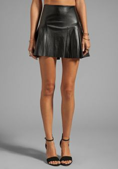 TWELFTH STREET BY CYNTHIA VINCENT Dreja Faux Leather Mini Skirt in Black - High Waisted