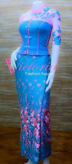 Ghana Fashion, Batik Fashion, Latest African Fashion Dresses, African Print Fashion, Traditional Fashion, Traditional Dresses, Myanmar Dress Design, Myanmar Traditional Dress, Oriental Dress