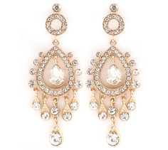 Leontine Chandelier Earrings in Crystal, need big earrings when you have big hair!