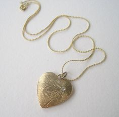 Vintage 80s Cottage Chic Traditional Signed Korea Brushed Goldtone Rhinestone Heart Pendant Herringbone Style Chain Necklace by ThePaisleyUnicorn, $5.00