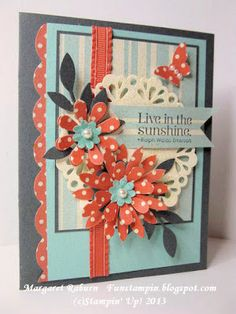 Fun Stampin' with Margaret! CCM250 Color Challenge: Pool Party, Calypso Coral and Basic Gray! Blossom Party die.