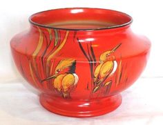 VINTAGE-Cir-1930s-SHELLEY-HAND-PAINTED-KINGFISHER-VASE-No-8655