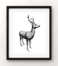 Downloadable Art Abstract Deer Deer Sketch Home Decor by fileclerk Deer Sketch, Moose Art, Abstract Art, Unique Jewelry, Handmade Gifts, Animals, Etsy, Vintage, Home Decor