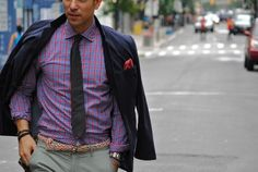 neutral gray slacks, great tie, great shirt, awesome woven belt