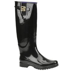 Didn't get my Hunter's because I found these on sale for $34 today at Nordstrom Rack.  LOVE!  Sperry black rain boot with purple liner.