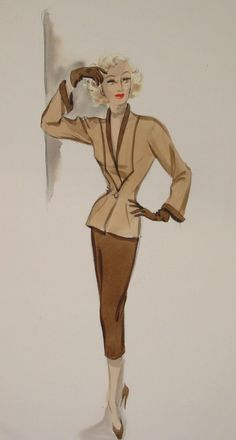 Costume sketch of a design by Edith Head for Marilyn Maxwell in OFF LIMITS (1953 Paramount).