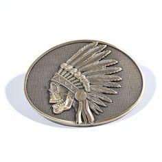 A Must buy for Tyler!!! Grateful Dead X Wes Lang: Indian Skull Brass Belt Buckle | Grateful Dead