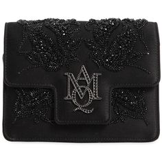 Alexander Mcqueen Women Insignia Beaded Silk Satin Clutch (£1,305) ❤ liked on Polyvore featuring bags, handbags, clutches, black, embellished handbags, alexander mcqueen handbags, chain strap purse, beaded purse and alexander mcqueen clutches
