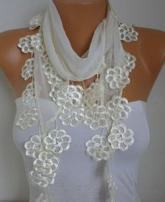 Spring Creamy White Scarf Mother's Day Gift Cotton by fatwoman