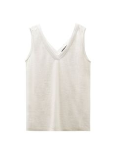 Top combinado con detalle plisado, confeccionado en tejido de lino. Corte recto, cuello pico y sin mangas.