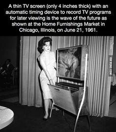 A thin TV screen, 1961