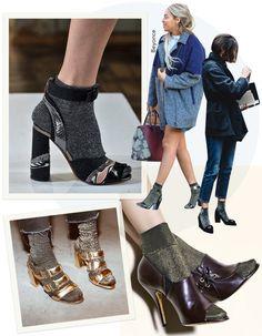 A moda das meias Lurex: Misturar meias com sandálias de veludo, por exemplo, é acerto em cheio. São duas tendências fortes e que permitem a ousadia. O passe é livre em outfits com jeans, shorts curtíssimos (como o da Beyoncé), alfaiataria e modelagens lady like. Combina com muitos estilos.