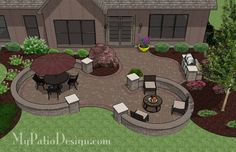 Large Curvy Patio Design with Seating Walls and Grill Station | Plan No. 1154rr | Download Installation Plan at MyPatioDesign.com