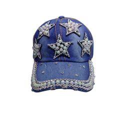 2820e27d27fcb Fashion Cotton Jean Caps Women Rhinestone Baseball cap Lady JEAN hat Pearl  Star jean snapback caps denim berets caps YY60550