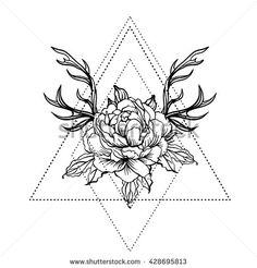 Blackwork tattoo flash. Peony flower with deer antlers. Vector illustration isolated on white. Tattoo design, mystic symbol. New school dotwork. Boho…