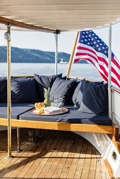 A small lounge area on the stern of the Mariner III, a 122-foot yacht that recently underwent a $750,000 renovation.