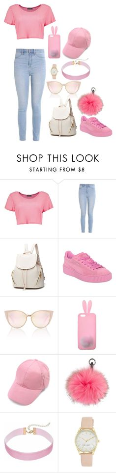 """""""On wdnesdays we wear pink"""" by oliviacollins2023 ❤ liked on Polyvore featuring Boohoo, Hollister Co., Puma, Miss Selfridge, N.Peal and Nine West"""