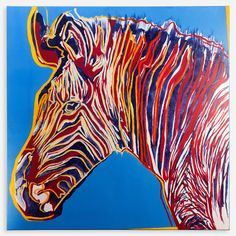 Zebra Andy - painting in the style of pop art, genre - animalism.  The work is done with acrylic paints on canvas on stretcher, with final multi-layer coating with blind acrylic varnish.  Size: height - 80 cm, width - 80 cm, depth - 2 cm (31.5 H x 31.5 W x 0.7 in).