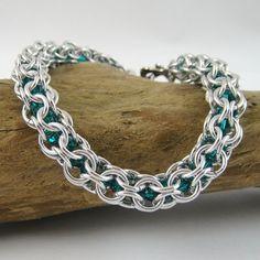 Swarovski Bracelet Chainmail Blue Zircon by Melissa